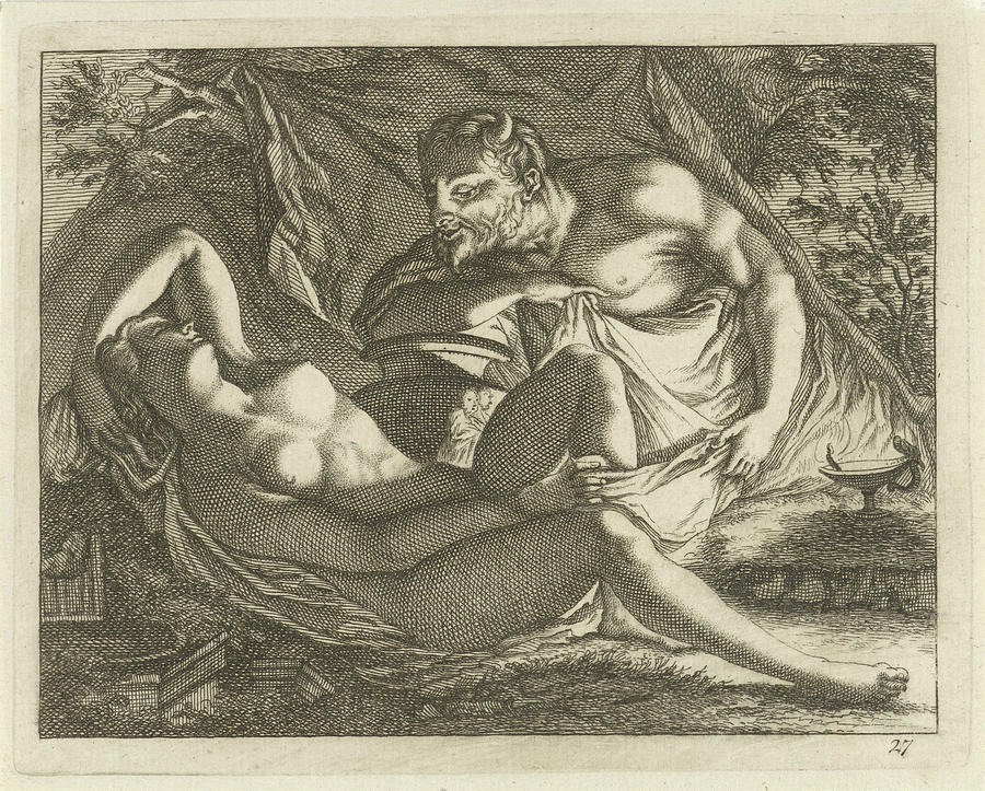 Sleeping Nymph Watched By A Satyr, Arnold Houbraken ...