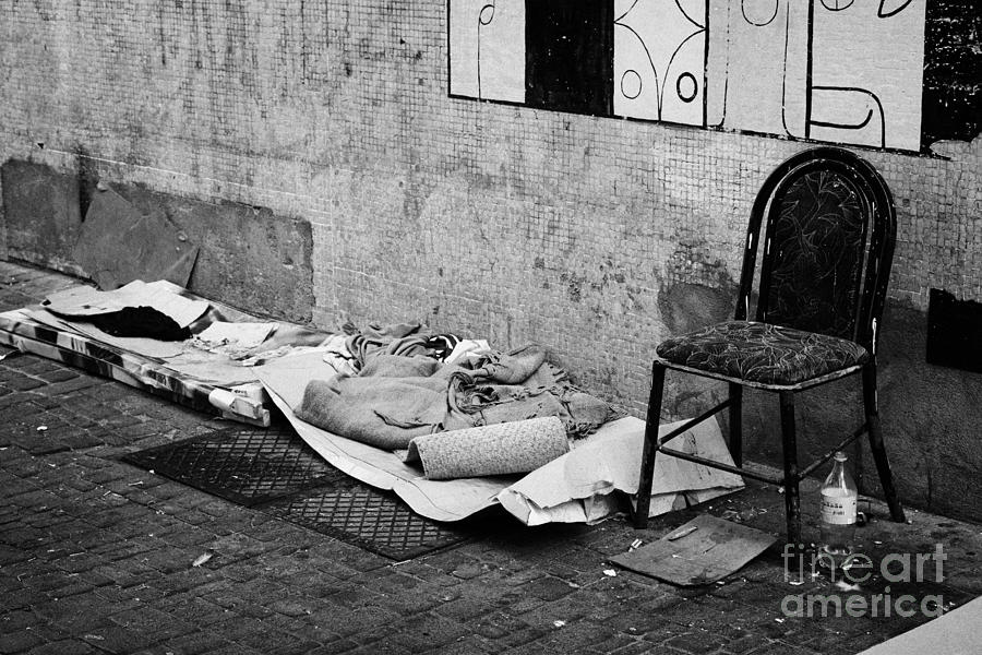 Sleeping Photograph - sleeping rough on the streets of Santiago Chile by Joe Fox