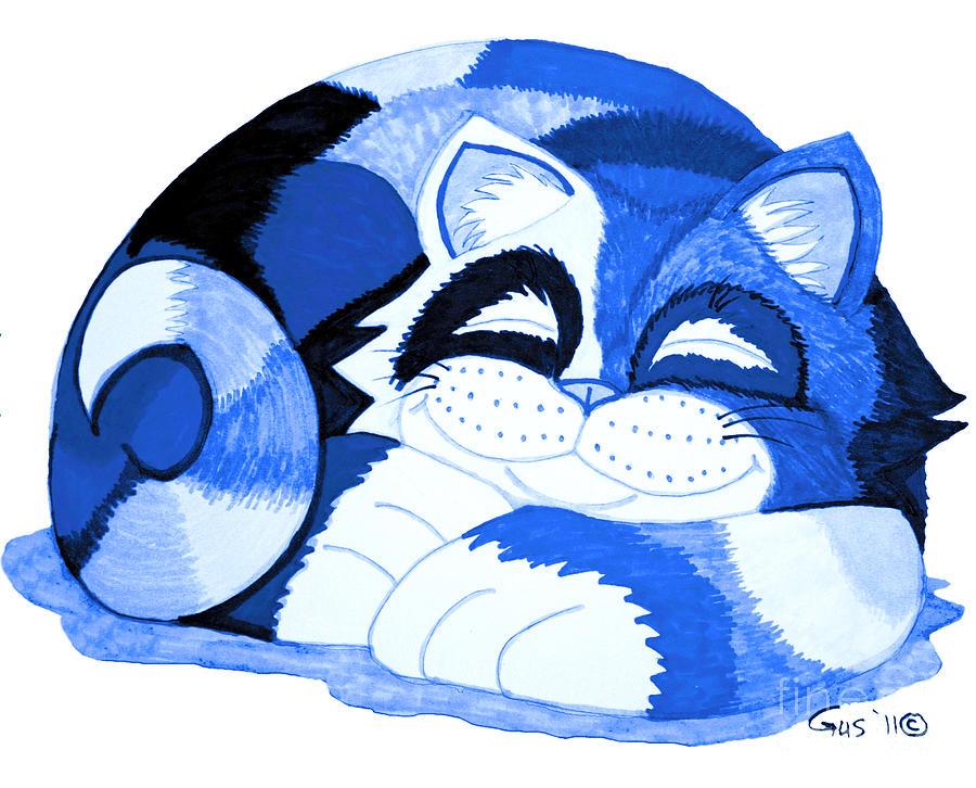 Cat Drawing - Sleepy Blue Cat by Nick Gustafson