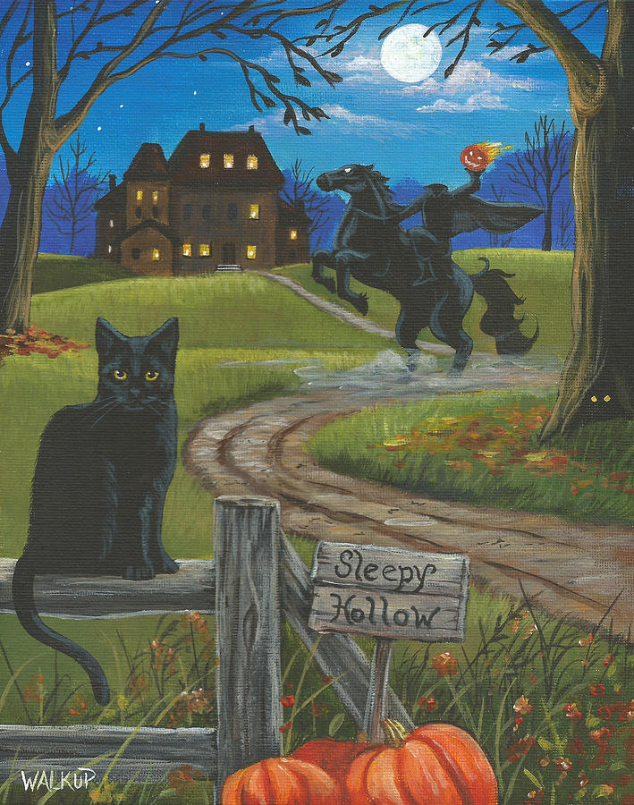 Headless Painting - Sleepy Hollow-katrinas Cat by Misty Walkup