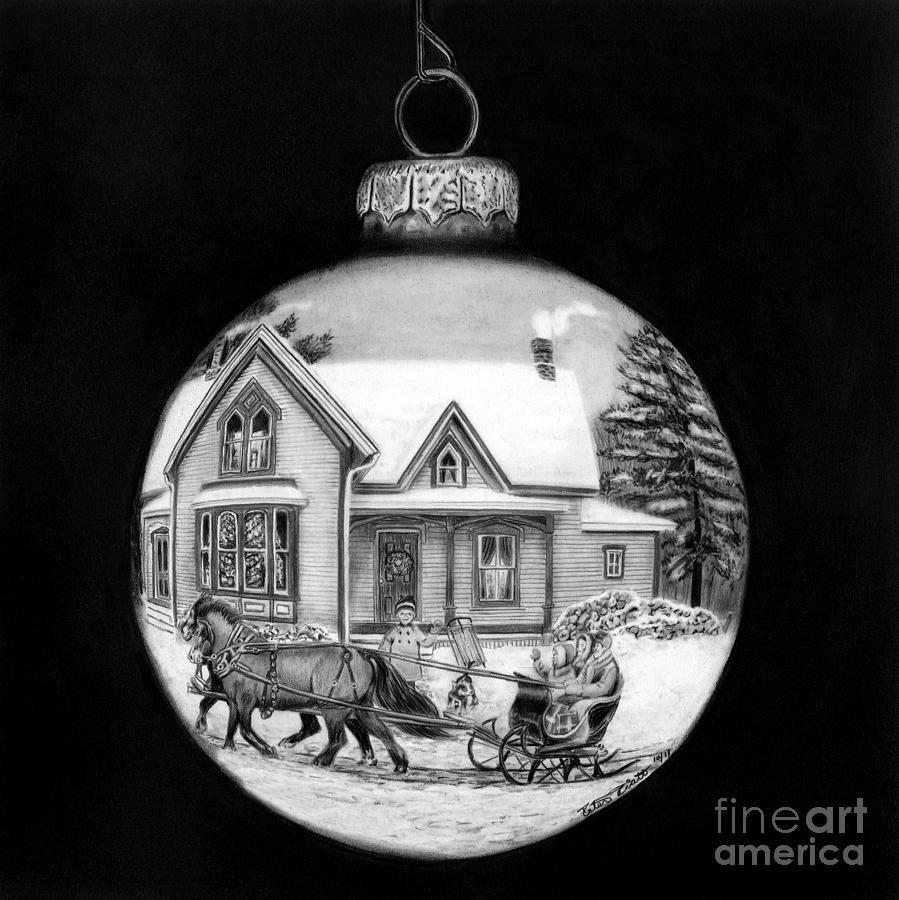 Sleigh ride ornament drawing by peter piatt
