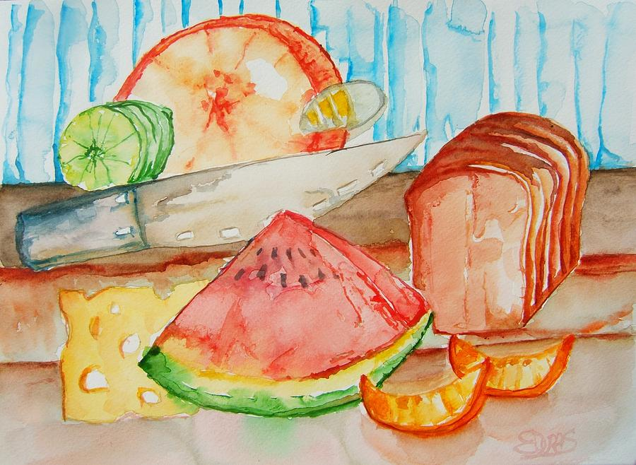 Fruit Painting - Slice It by Elaine Duras