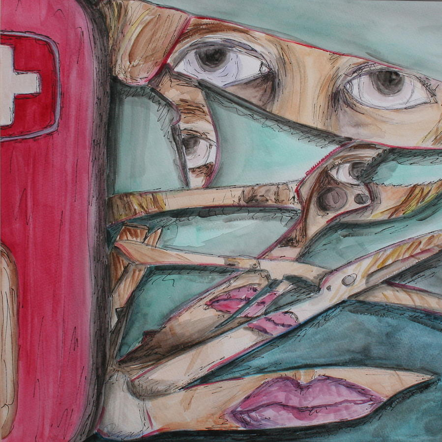 Swiss Army Knife Painting - Sliced by Kate Fortin