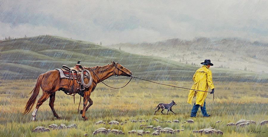 Cowboy Painting - Slicker Weather by Paul Krapf