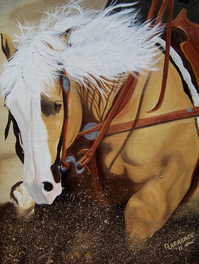 Western Painting - Sliding Stop by Debbie LaFrance