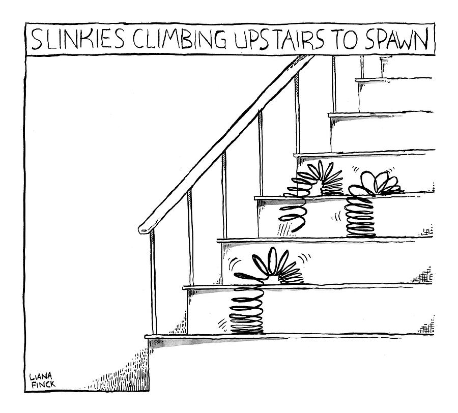 Slinkies Climbing Upstairs To Spawn Features Drawing by Liana Finck