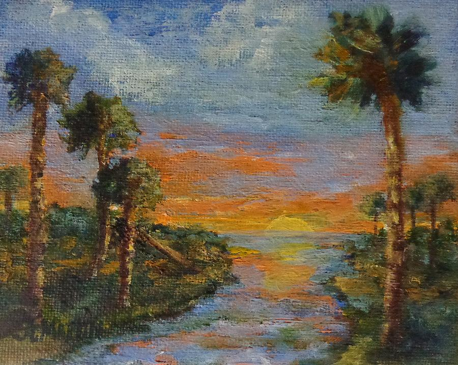 Everglades Painting - Slipping Away by Annie St Martin