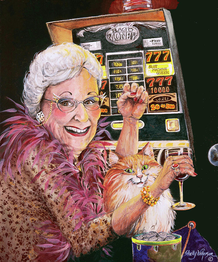 Slot Machine Painting - Slot Machine Queen by Shelly Wilkerson