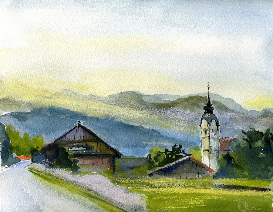 Landscape Painting - Slovenia. Vrhnika. by Lelia Sorokina
