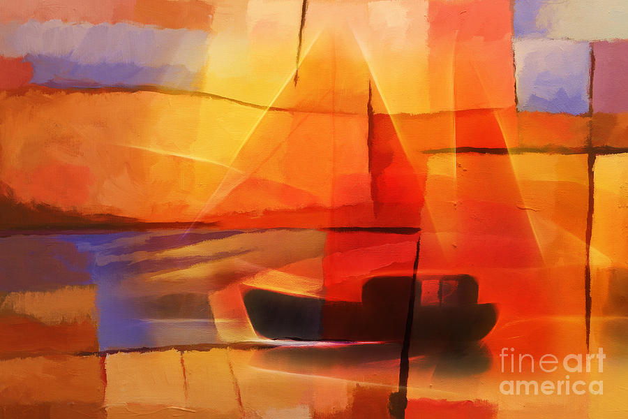 Abstract pictures of boats M: PEACOCK JEWELS Premium Quality Canvas Printed