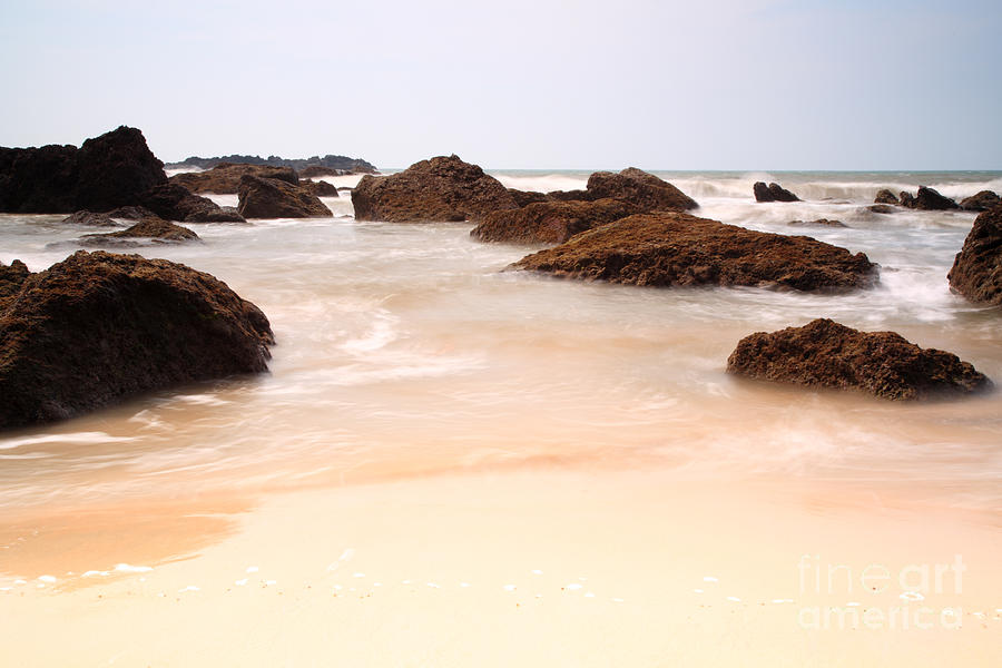 Arabian Sea Photograph - Slow Shutter Sea Around Rocks by Deborah Benbrook