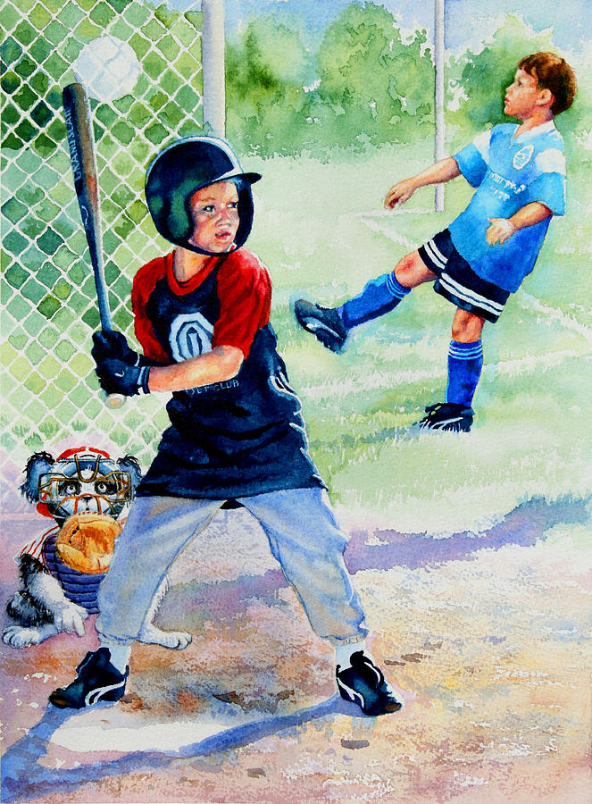 Baseball Painting - Slugger And Kicker by Hanne Lore Koehler