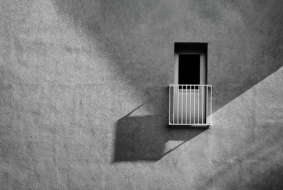 Abstract Photograph - Small Balcony And Its Shadow by Inge Schuster