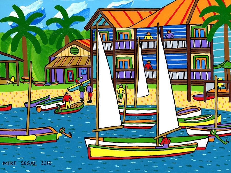 Cedar Key Painting - Small Boat Regatta - Cedar Key by Mike Segal