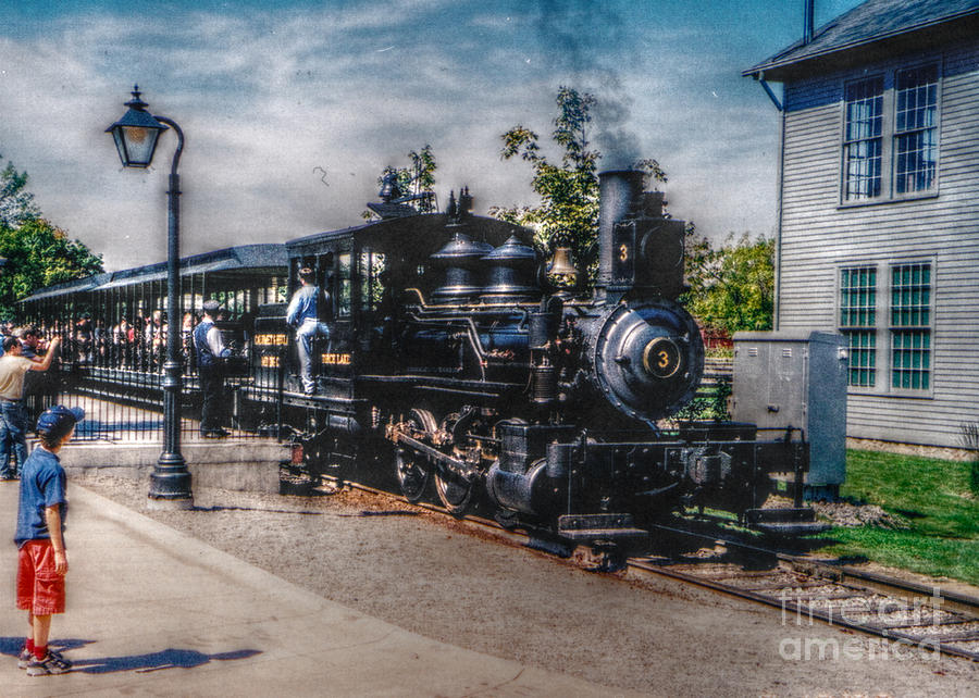 Horizontal Photograph - Small Boy Waiting For Steam Engine by Janice Sakry