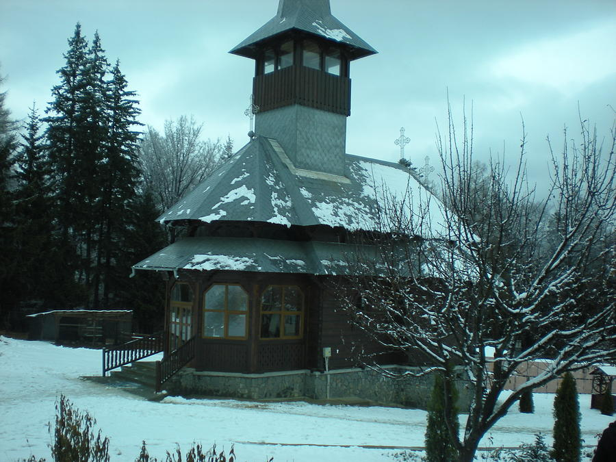 Winter Photograph - Small Church Romania by Andreea Alecu