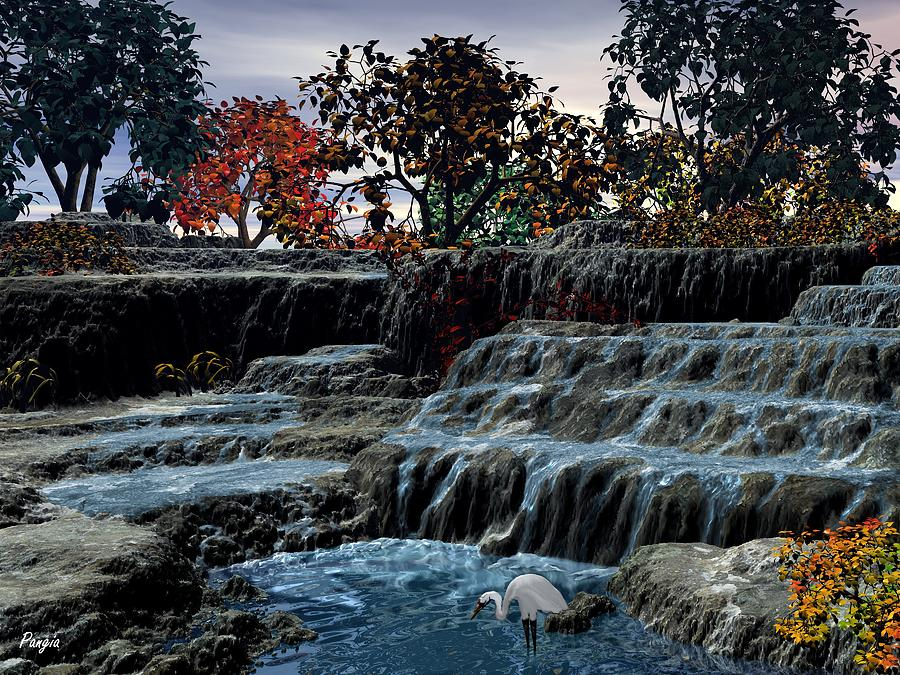 Falls Digital Art - Small Falls At Sunset by John Pangia