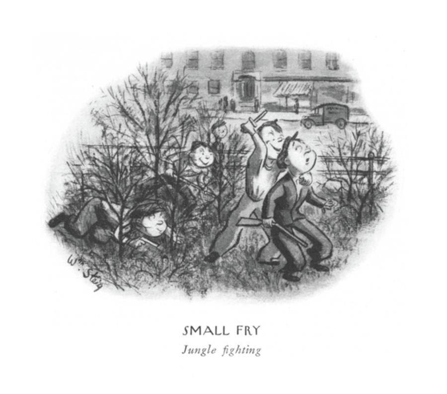 Small Fry  Jungle ?ghting Drawing by William Steig