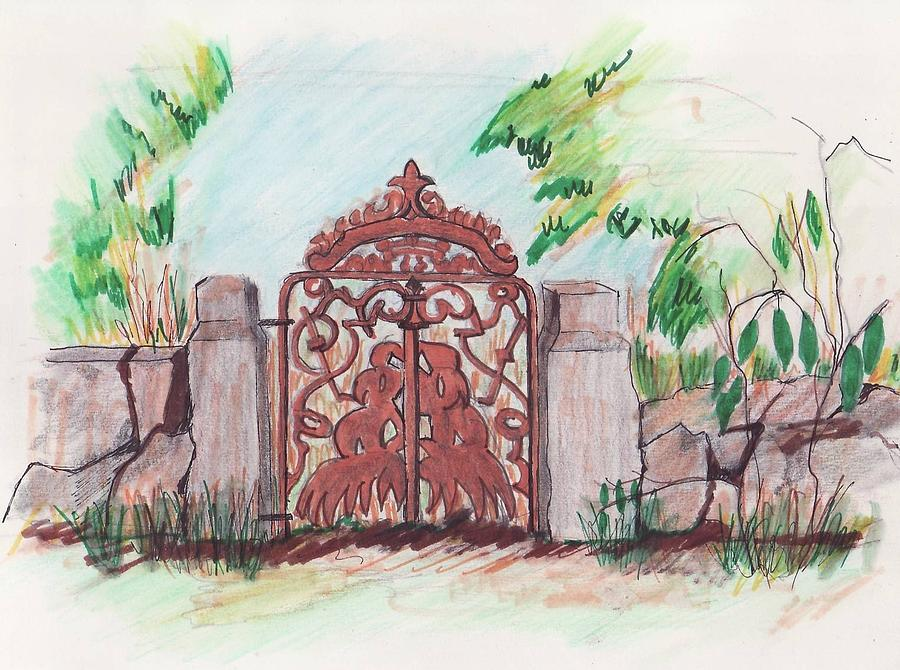 Small Glen Magna Gate Drawing by Paul Meinerth