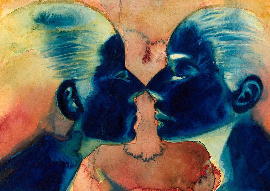 Female; Face; Reflection; Narcissism; Narcissistic; Twins; Mirror Image; Veil; Self Image; Relationship; Watercolor Painting - Small In Between by Graham Dean