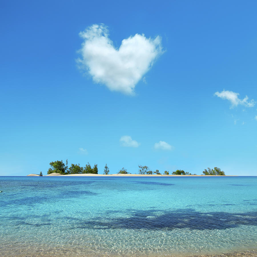 Small Island Over Heart Shaped Cloud Photograph by Imagedepotpro