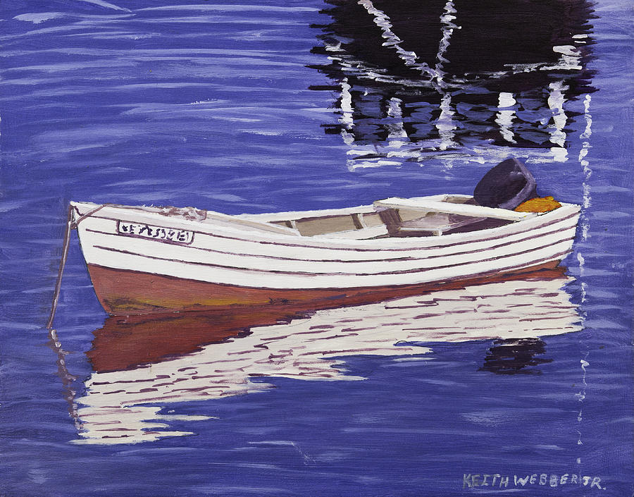 Small motor boat in maine harbor painting by keith webber jr for Small motor boat for sale