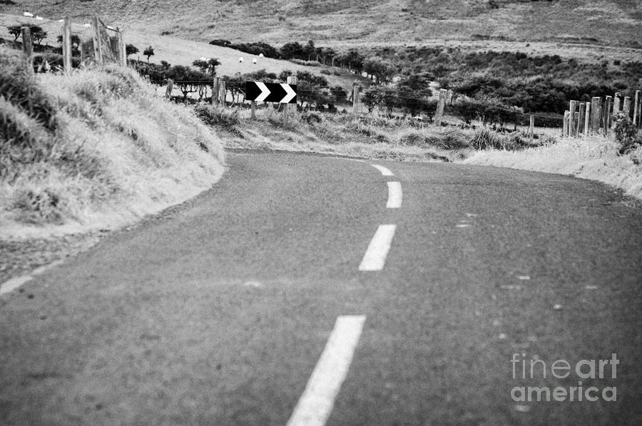 Northern Photograph - Small Narrow Country Road Leading To Dangerous Bend In County Antrim Northern Ireland by Joe Fox