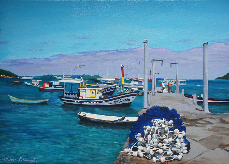 Pier Painting - Small Pier In The Afternoon-buzios by Chikako Hashimoto Lichnowsky
