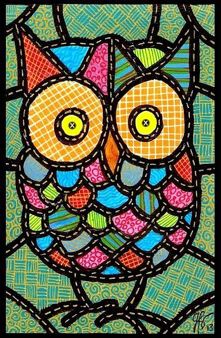 Owl Painting - Small Quilted Owl by Jim Harris