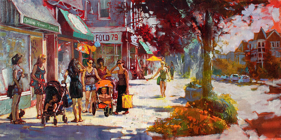 Landscape Painting - Small Talk In Elmwood Ave by Ylli Haruni