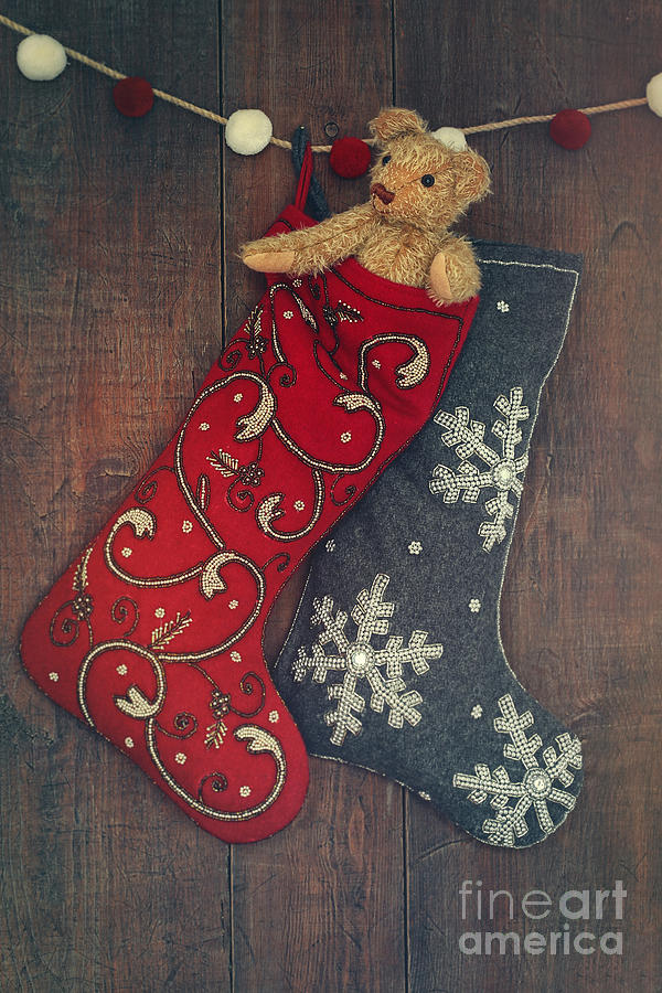 Abstract Photograph - Small Teddy Bear In Stocking For Christmas by Sandra Cunningham
