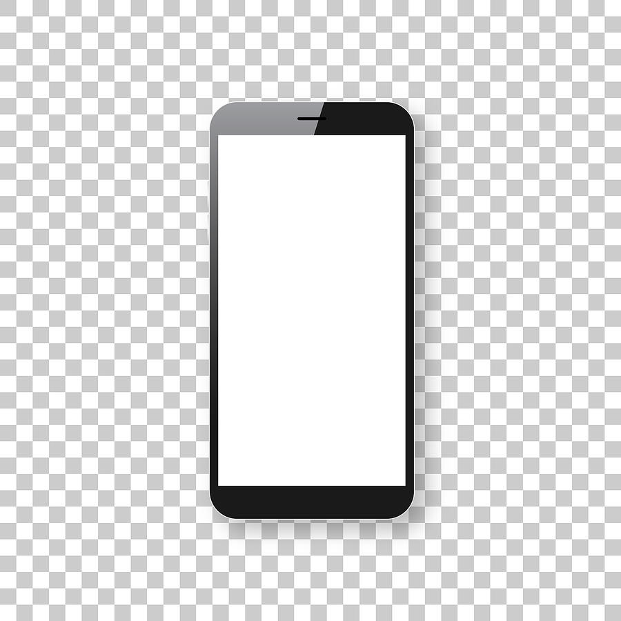 Smartphone isolated on blank background - Mobile Phone Template Drawing by Bgblue