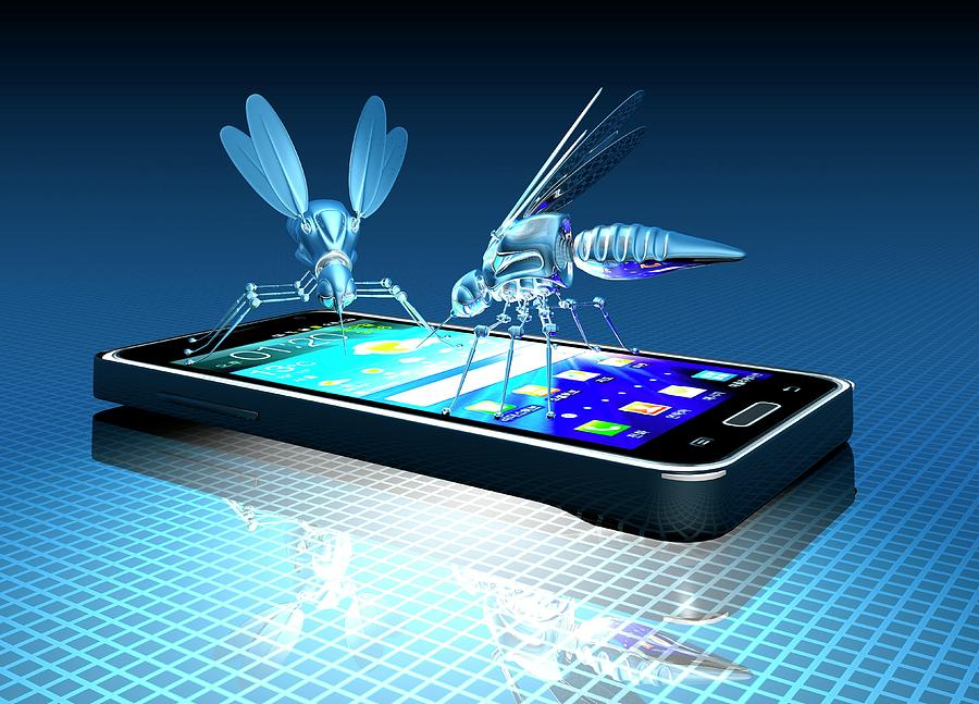 Artwork Photograph - Smartphone With Nano Bugs by Victor Habbick Visions