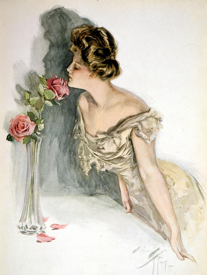 Harrison Fisher Digital Art - Smelling The Roses by Harrison Fisher