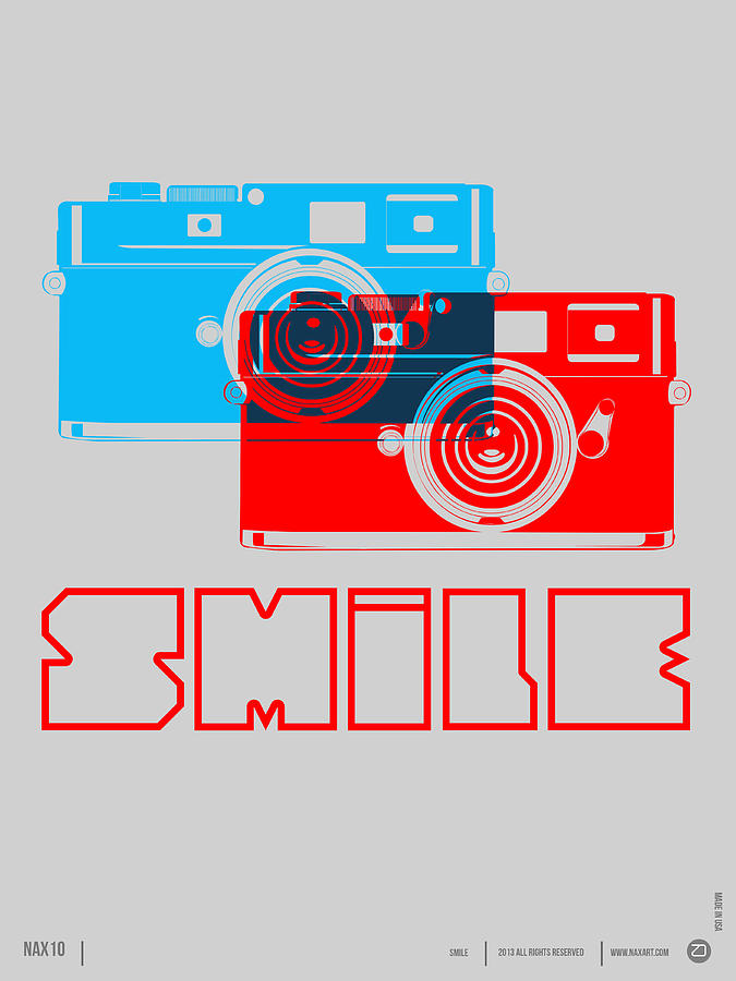 Quotes Digital Art - Smile Camera Poster by Naxart Studio