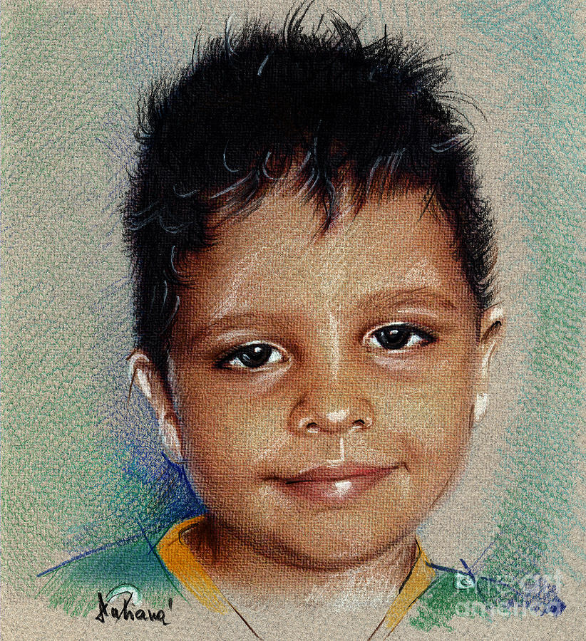 Drawing Drawing - Smile - Colored Pencils Portrait Drawing by Daliana Pacuraru