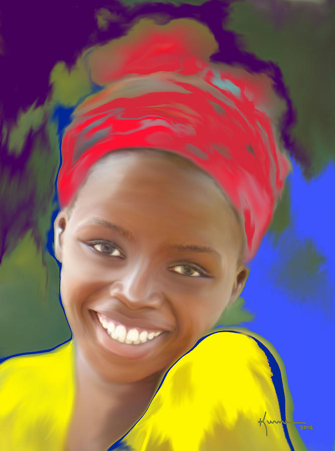 Girl Painting - Smile by Kume Bryant