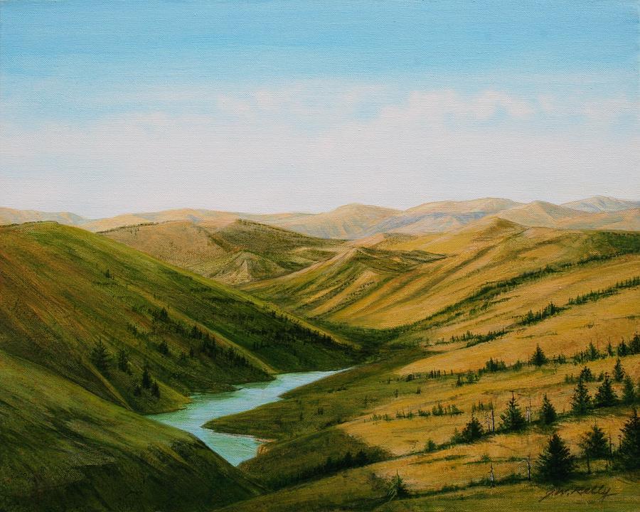 Northwestern Nebraska Painting - Smiley Canyon Wash by J W Kelly