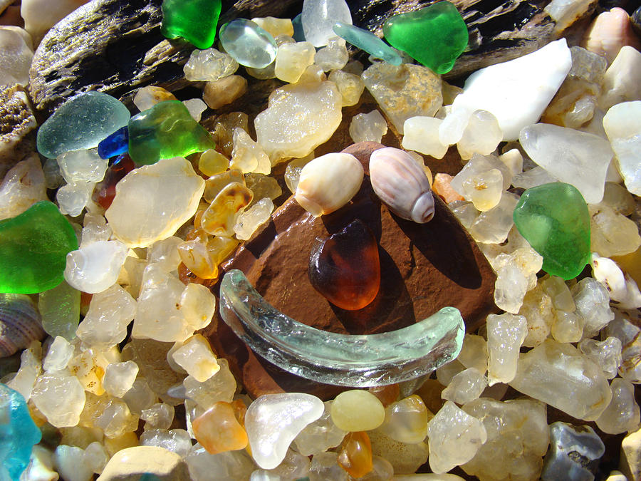 Smiley Photograph - Smiley Face Art Prints Seaglass Shells Agates Beach by Baslee Troutman