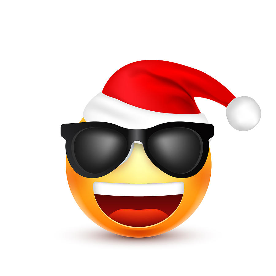 Christmas Emoji.Smiley Emoticon Yellow Emoji Face With Emotions And Christmas Hat New Year Santa Winter Sad Happy Angry Faces Funny Cartoon Character Mood