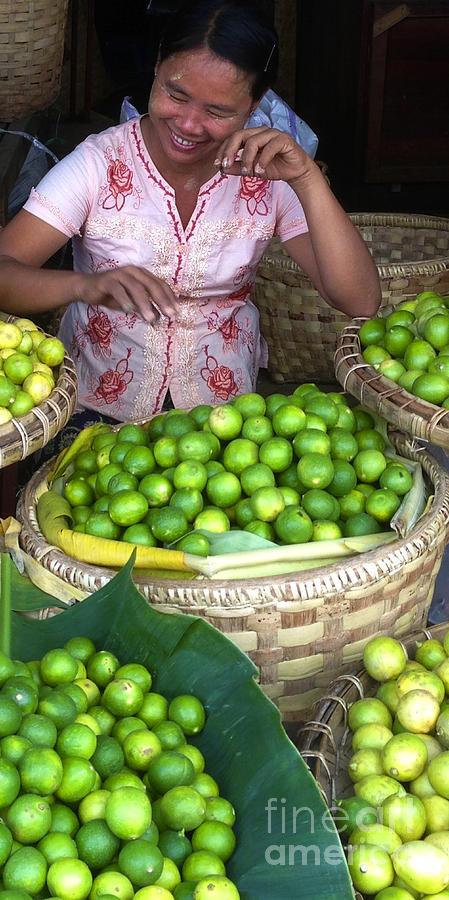 Smiling Burmese Lady selling Fresh Green Lemons Zay Cho Street Market 86th Street Mandalay Burma by PIXELS  XPOSED Ralph A Ledergerber Photography
