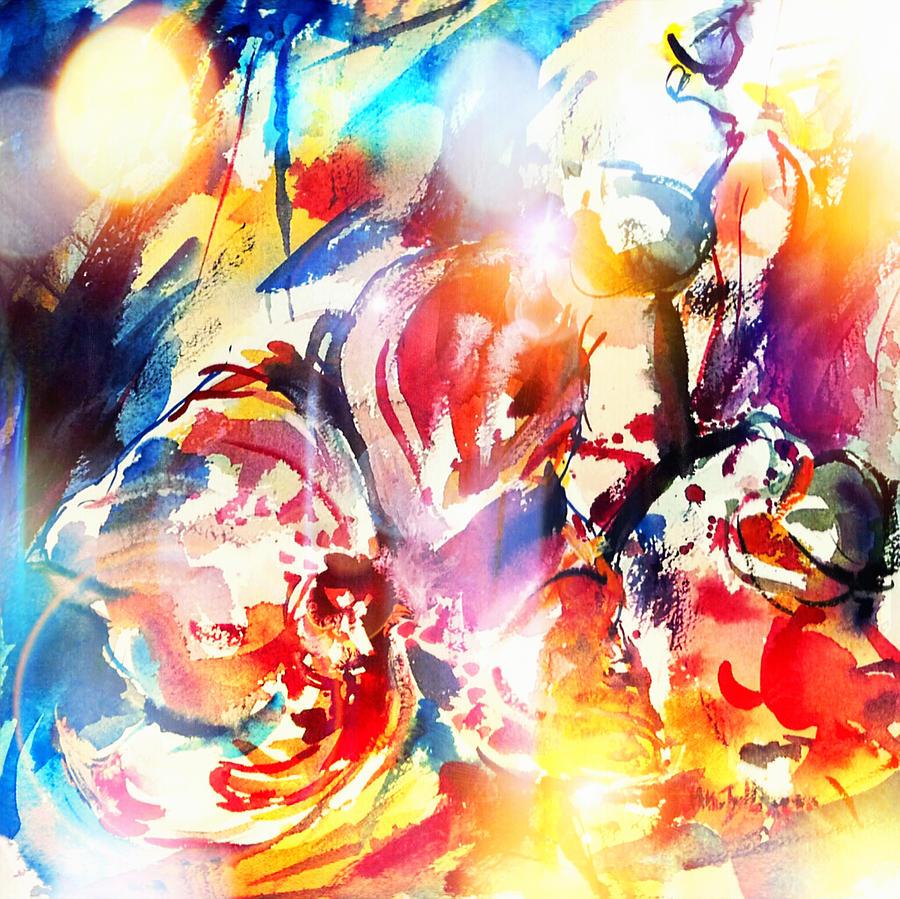Watercolor Digital Art - Smiling Dragon by Mikko Tyllinen