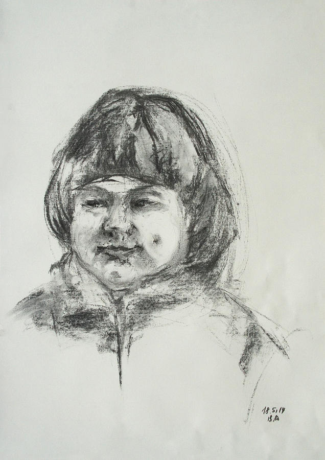 Girl Drawing - Smiling Little Girl With Dimples by Barbara Pommerenke