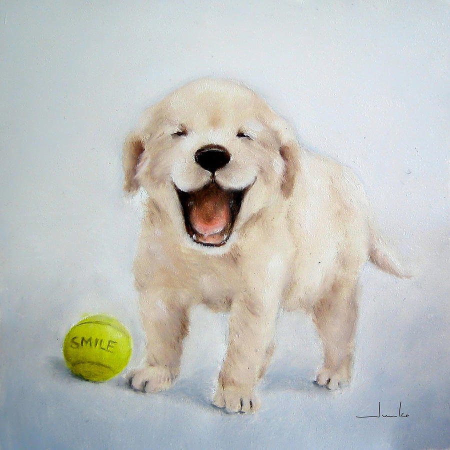 smiling puppy nursery art painting by junko van norman