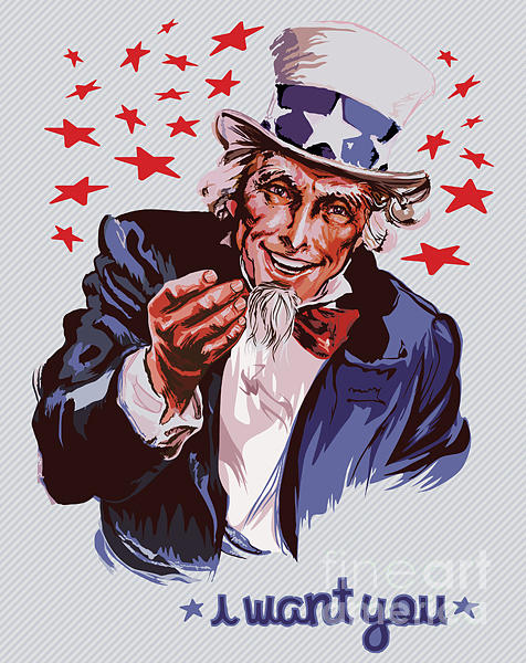 Patriotic Digital Art - Smiling Uncle Sam Removable Text by Ultraviolet
