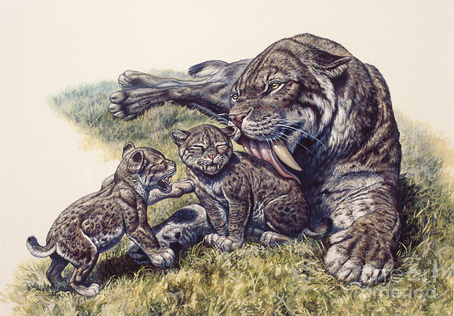 Smilodon Sabertooth Mother And Her Cubs Digital Art By