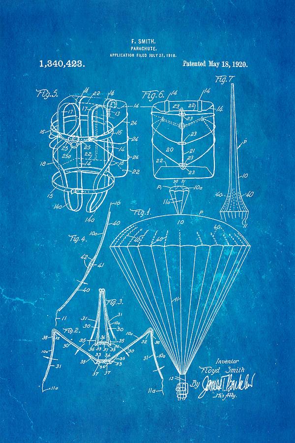 Aviation Photograph - Smith Parachute Patent Art 1920 Blueprint by Ian Monk