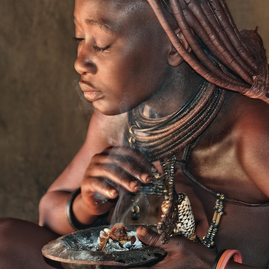Himba Photograph - Smoke Bath In The Hut by Piet Flour