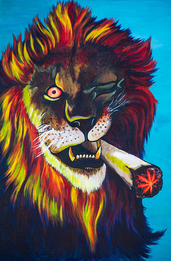smoke lion painting by paul regalado