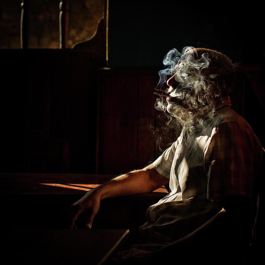 Portrait Photograph - Smoked In Havana, Cuba by Dan Mirica